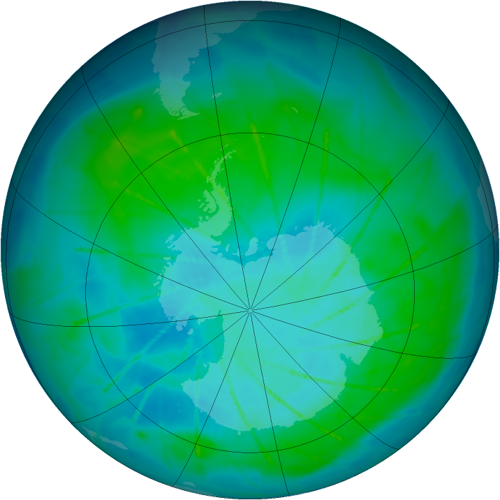 Antarctic ozone map for 27 January 2010