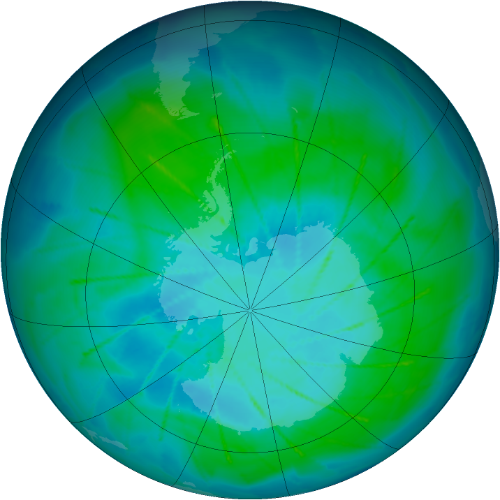 Antarctic ozone map for 28 January 2010