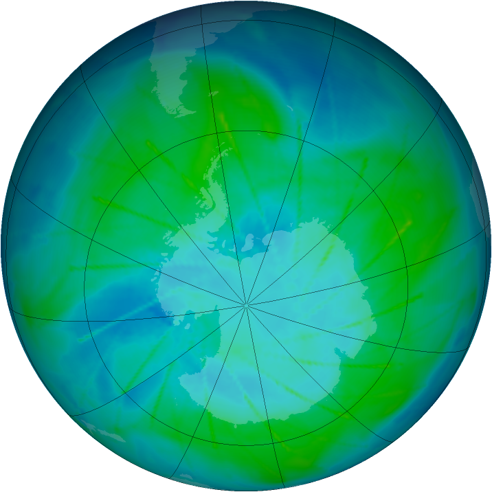 Antarctic ozone map for 30 January 2010