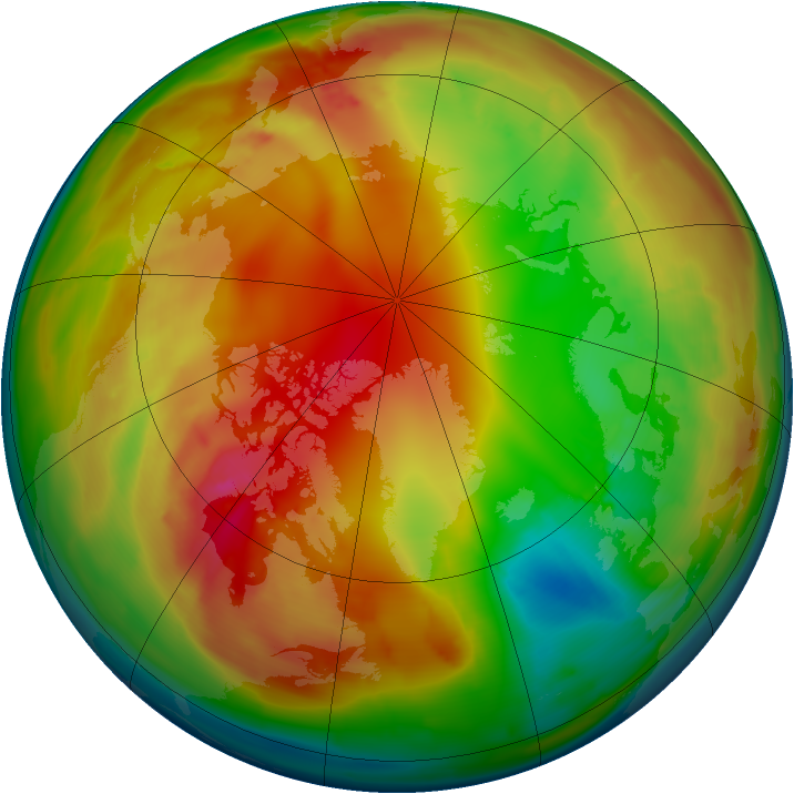 Arctic ozone map for 31 January 2010