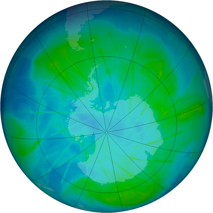 Antarctic ozone map for 01 February 2010