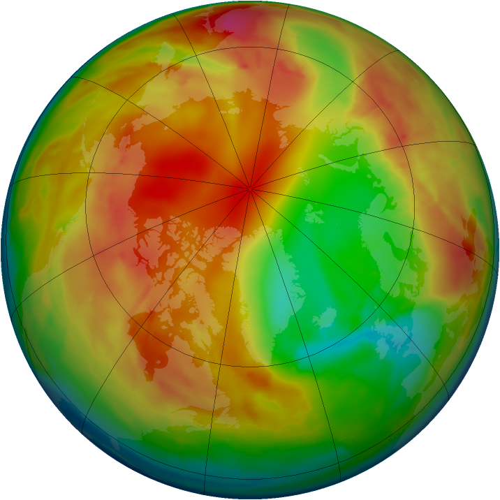 Arctic ozone map for 03 February 2010