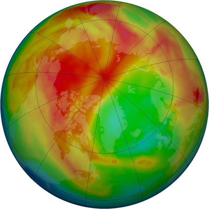 Arctic ozone map for 04 February 2010