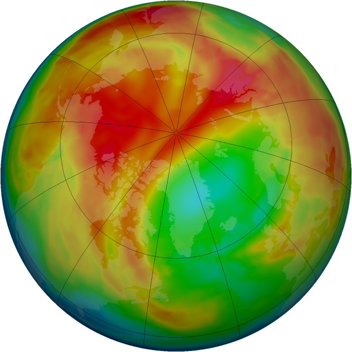 Arctic ozone map for 05 February 2010