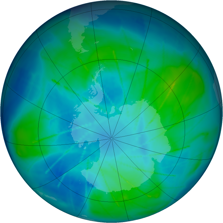 Antarctic ozone map for 05 February 2010