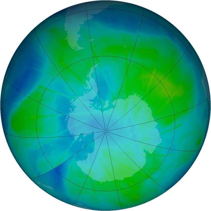 Antarctic ozone map for 06 February 2010