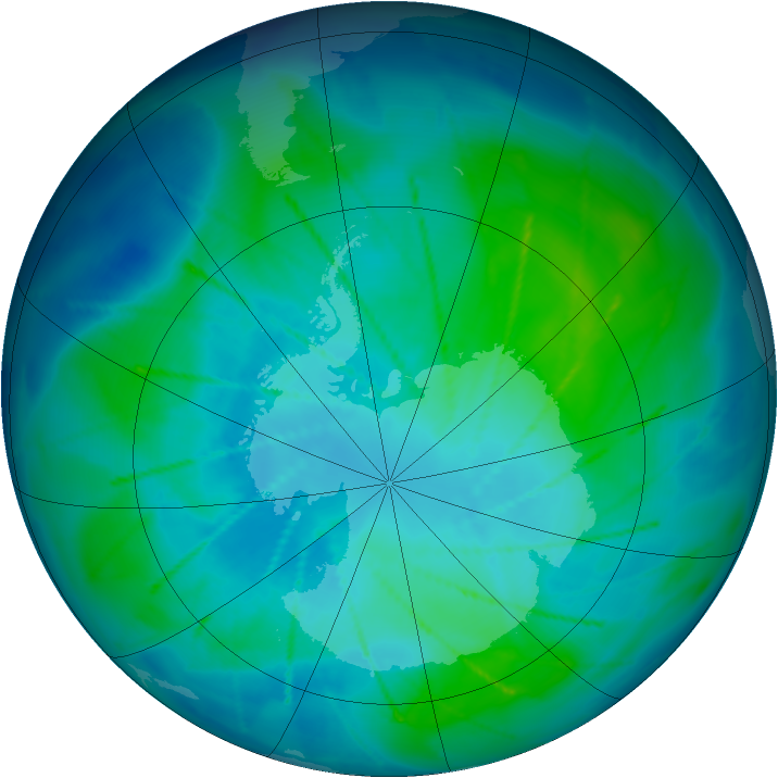 Antarctic ozone map for 07 February 2010