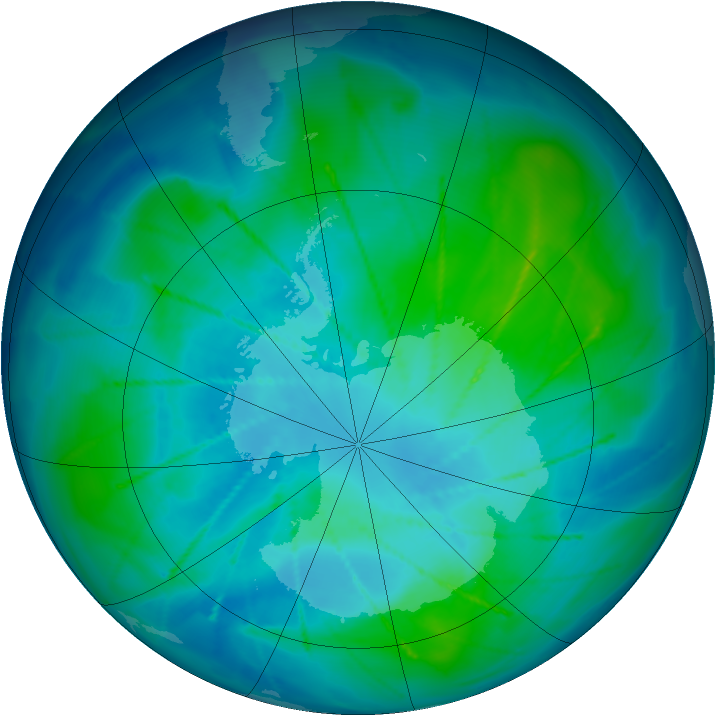 Antarctic ozone map for 08 February 2010