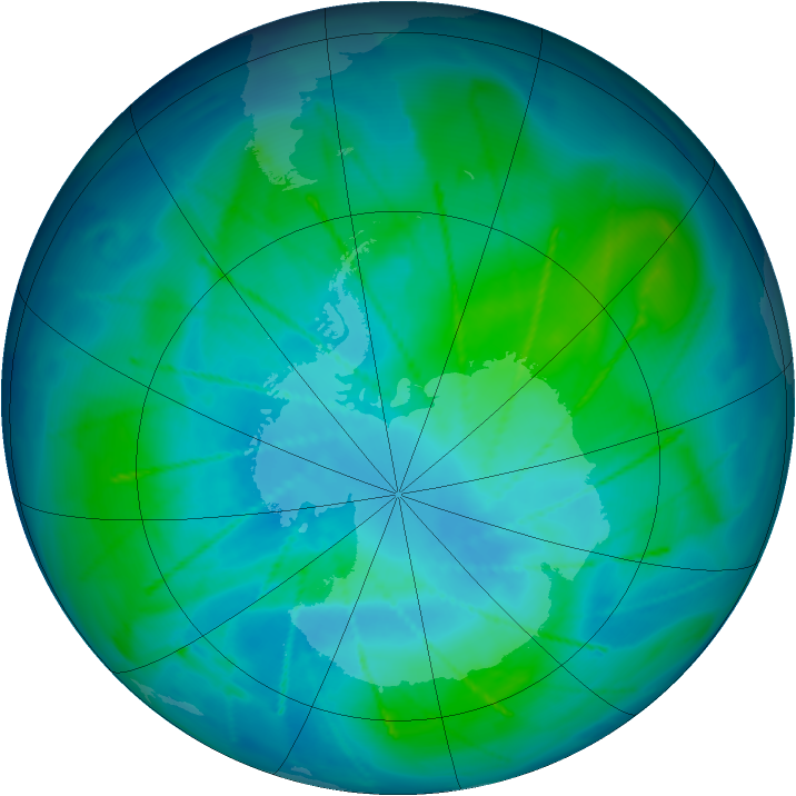 Antarctic ozone map for 09 February 2010