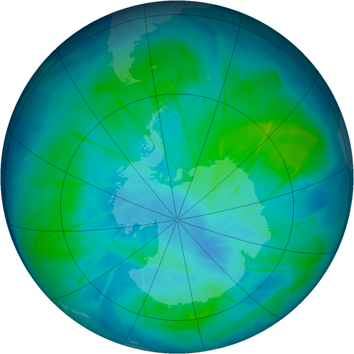 Antarctic ozone map for 10 February 2010