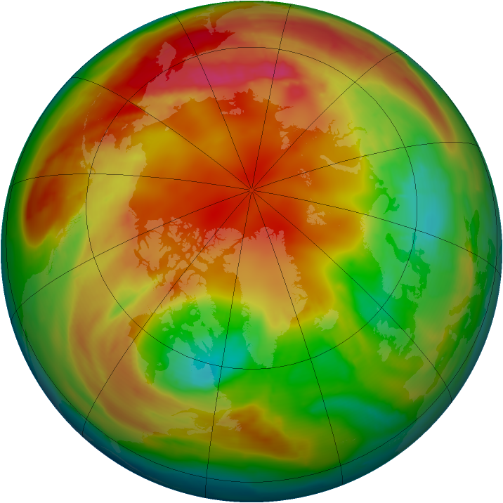 Arctic ozone map for 13 February 2010
