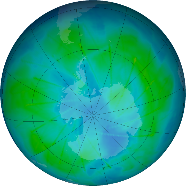 Antarctic ozone map for 13 February 2010