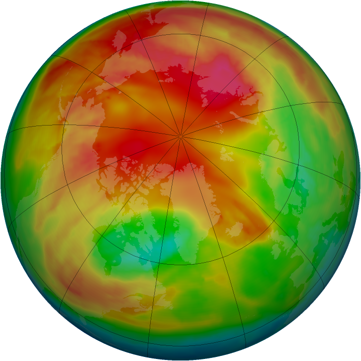 Arctic ozone map for 15 February 2010