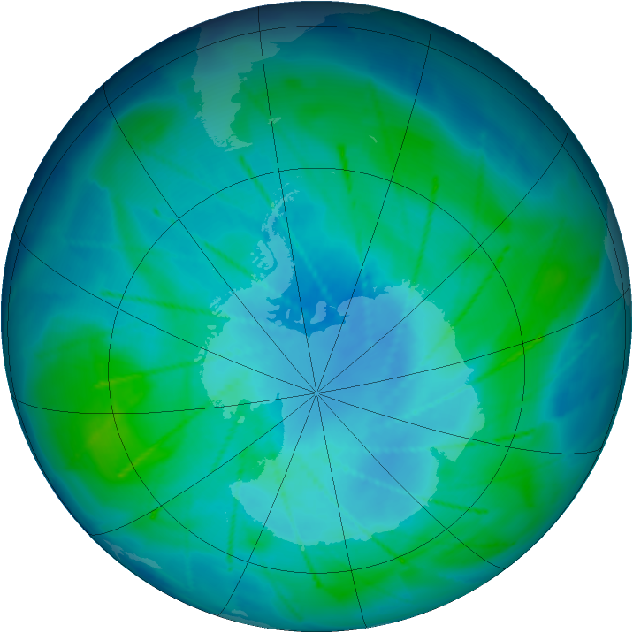 Antarctic ozone map for 16 February 2010