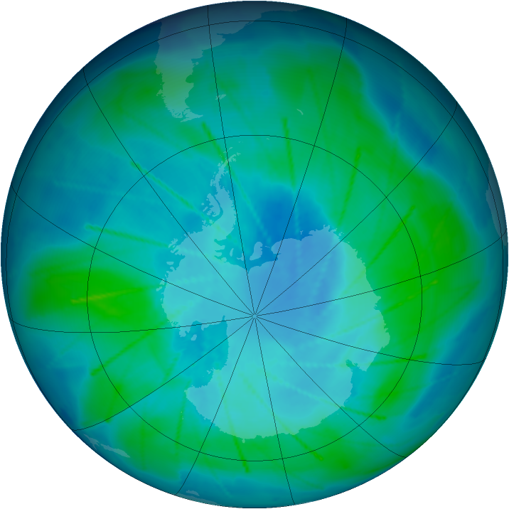 Antarctic ozone map for 18 February 2010