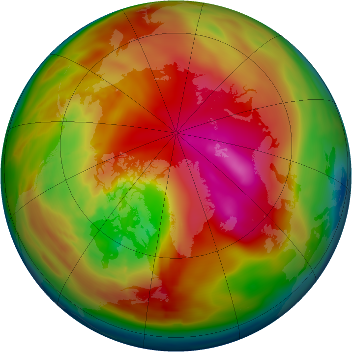 Arctic ozone map for 20 February 2010