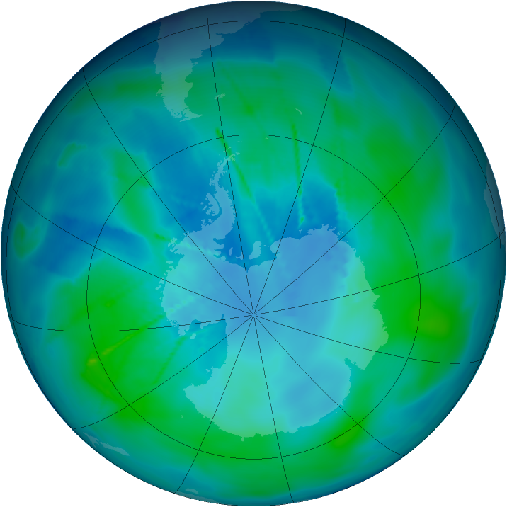 Antarctic ozone map for 20 February 2010