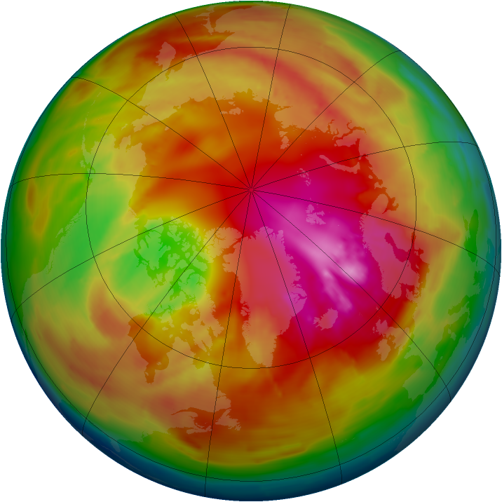Arctic ozone map for 22 February 2010