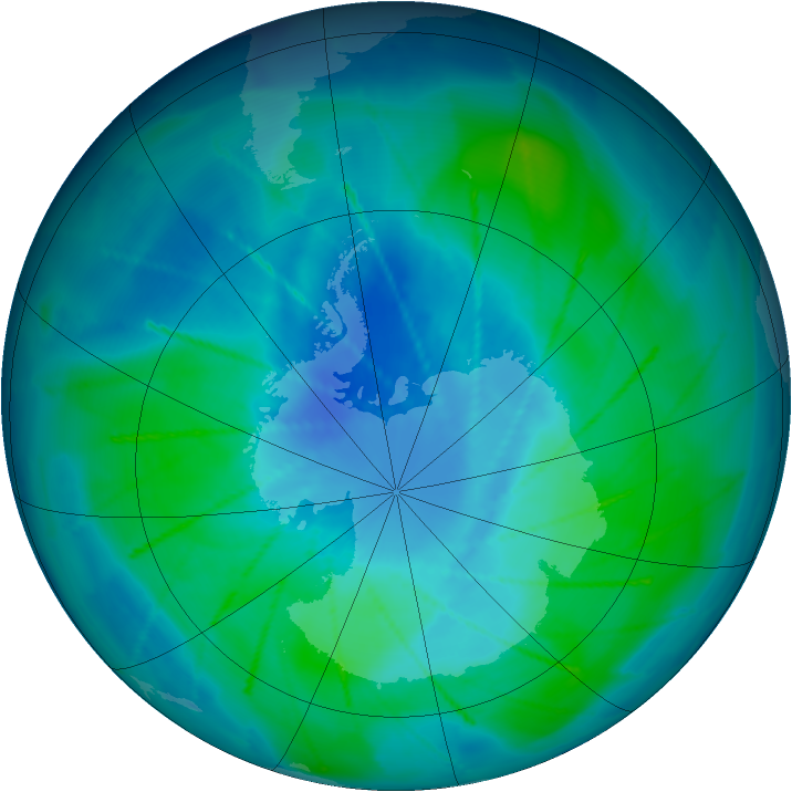 Antarctic ozone map for 22 February 2010