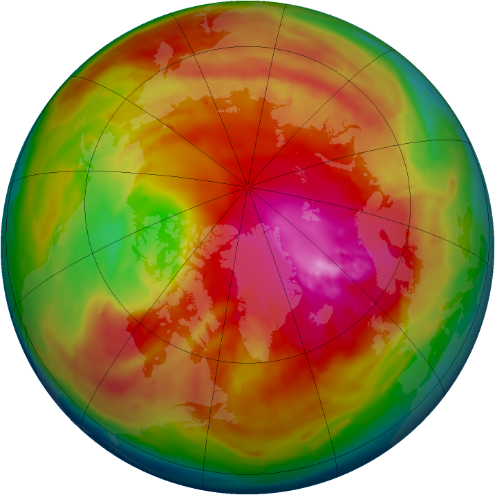 Arctic ozone map for 23 February 2010