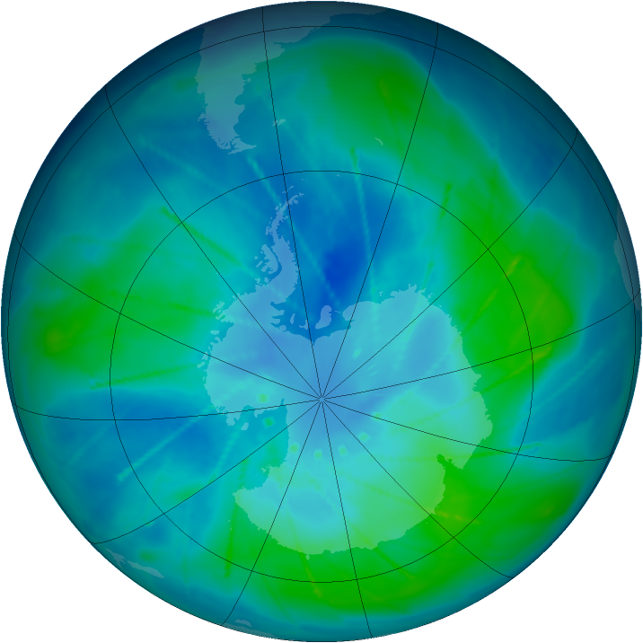 Antarctic ozone map for 25 February 2010