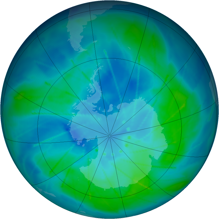 Antarctic ozone map for 26 February 2010