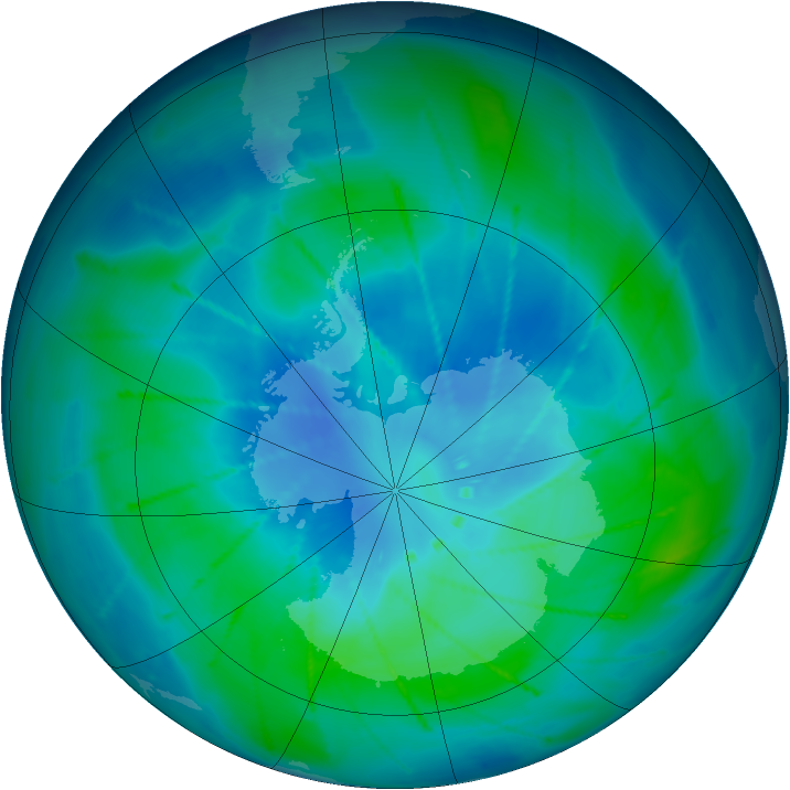Antarctic ozone map for 28 February 2010