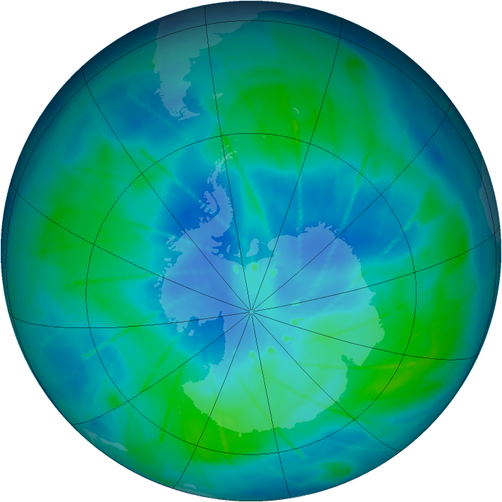 Antarctic ozone map for 01 March 2010