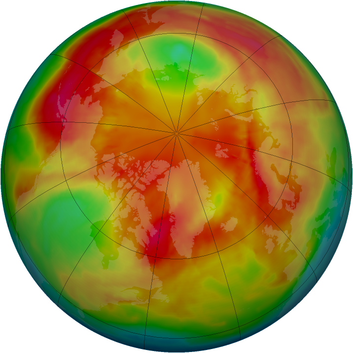 Arctic ozone map for 03 March 2010