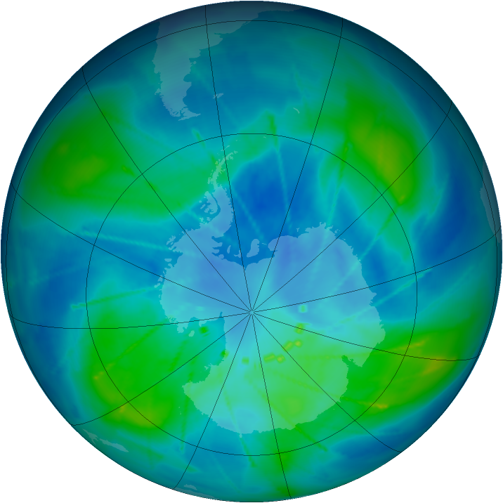 Antarctic ozone map for 04 March 2010
