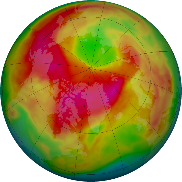 Arctic ozone map for 07 March 2010