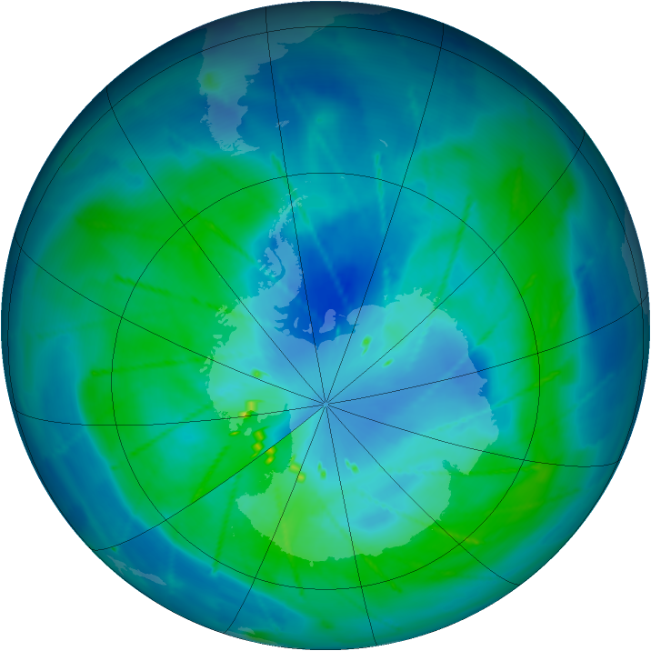 Antarctic ozone map for 08 March 2010