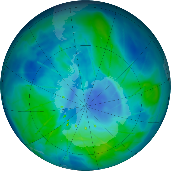 Antarctic ozone map for 16 March 2010