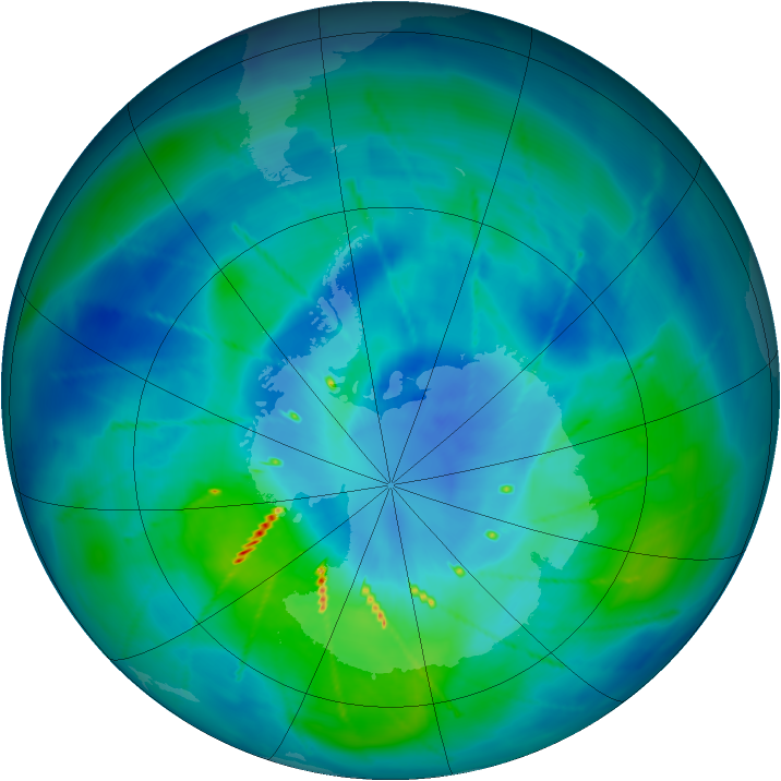 Antarctic ozone map for 19 March 2010