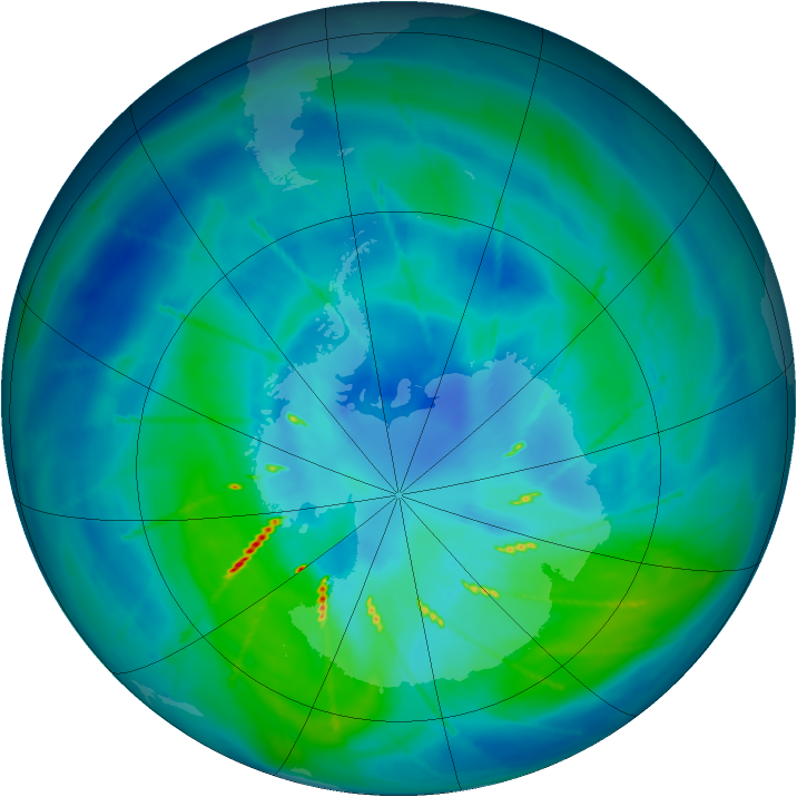 Antarctic ozone map for 21 March 2010