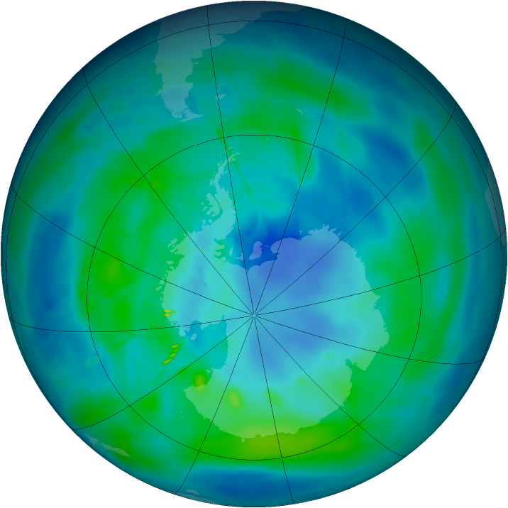 Antarctic ozone map for 24 March 2010