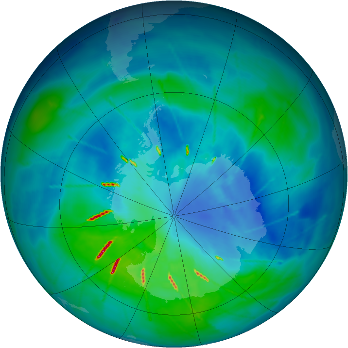 Antarctic ozone map for 28 March 2010