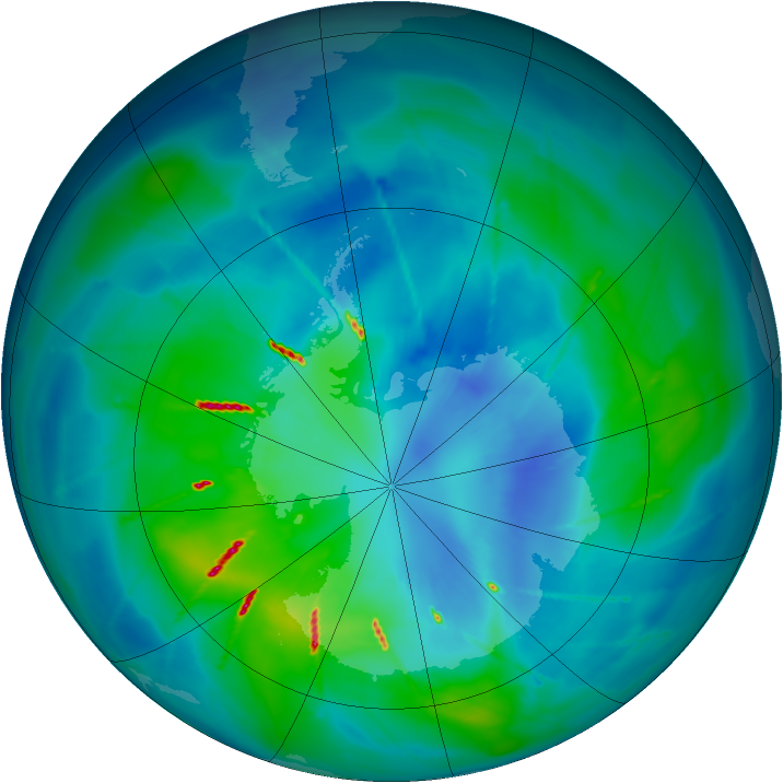 Antarctic ozone map for 30 March 2010