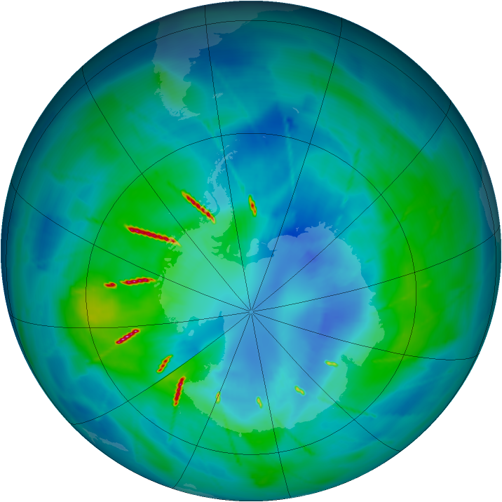 Antarctic ozone map for 31 March 2010