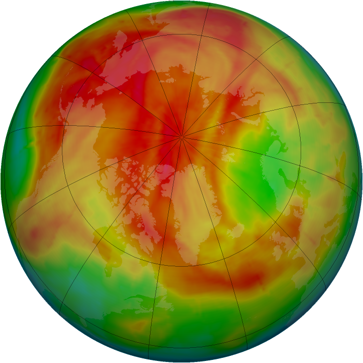 Arctic ozone map for 01 April 2010