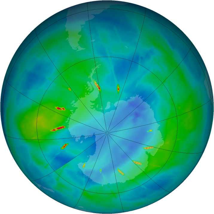 Antarctic ozone map for 01 April 2010