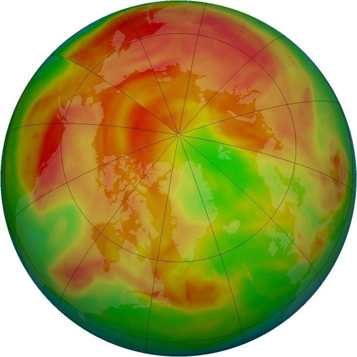 Arctic ozone map for 08 April 2010