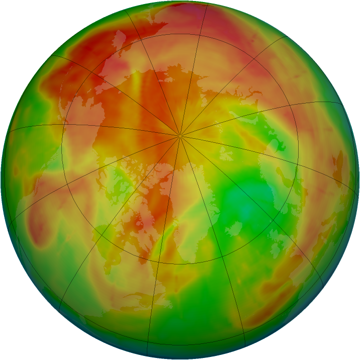 Arctic ozone map for 13 April 2010