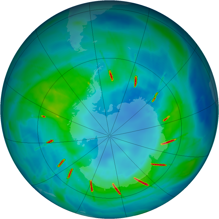 Antarctic ozone map for 13 April 2010