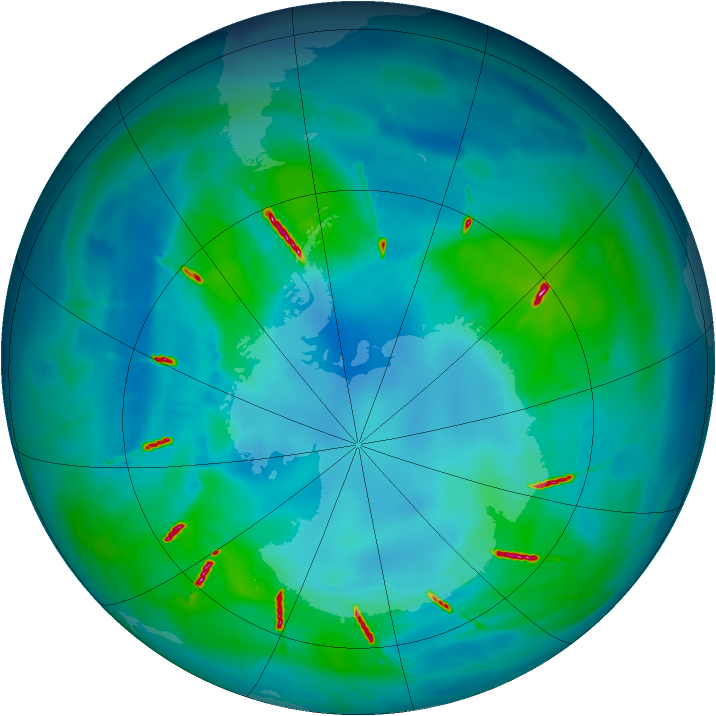 Antarctic ozone map for 17 April 2010