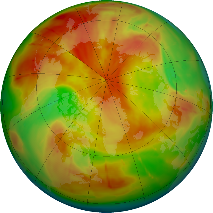 Arctic ozone map for 22 April 2010