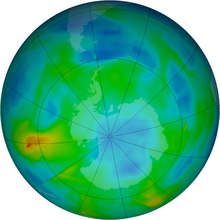Antarctic ozone map for 11 May 2010