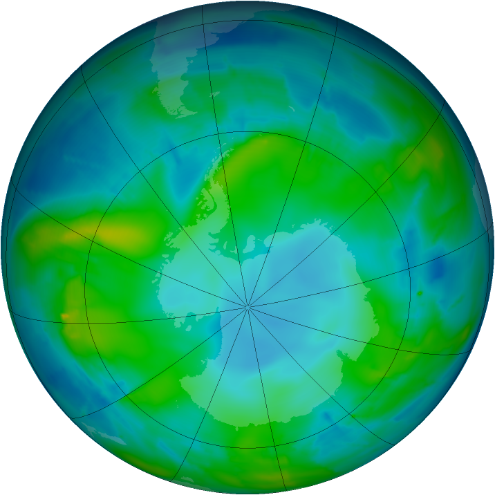 Antarctic ozone map for 13 May 2010