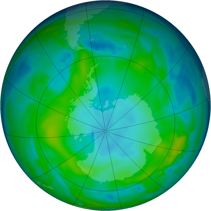 Antarctic ozone map for 21 May 2010