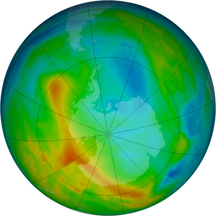 Antarctic ozone map for 22 June 2010